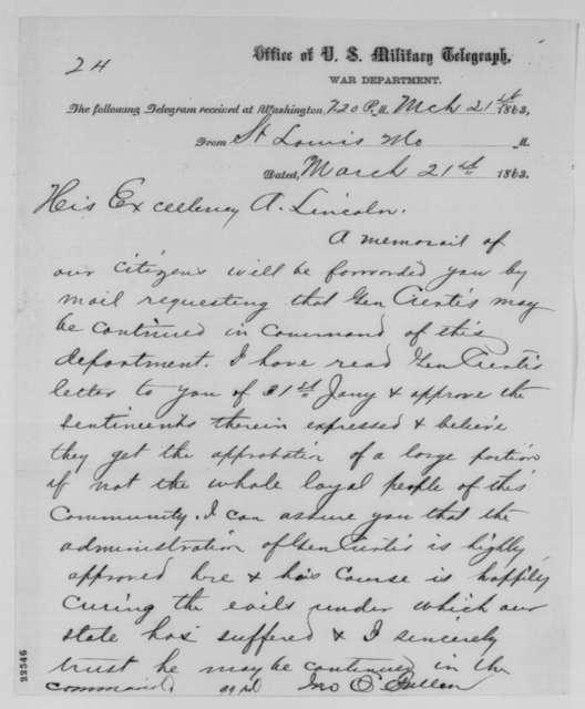 John O. Fuller to Abraham Lincoln, Saturday, March 21, 1863  (Telegram regarding removal of General Curtis)