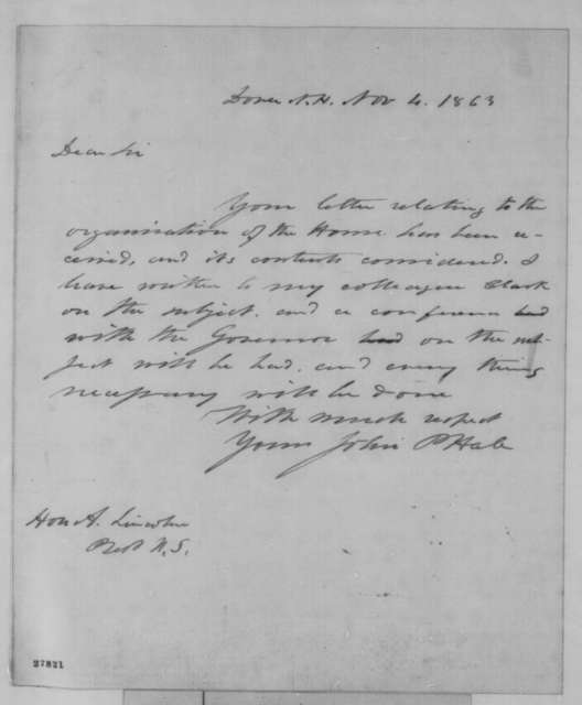 John P. Hale to Abraham Lincoln, Wednesday, November 04, 1863  (Organization of the U. S. House)