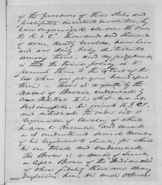 John P. Usher to Abraham Lincoln, Sunday, March 15, 1863  (Arrest of Judge Charles H. Constable)