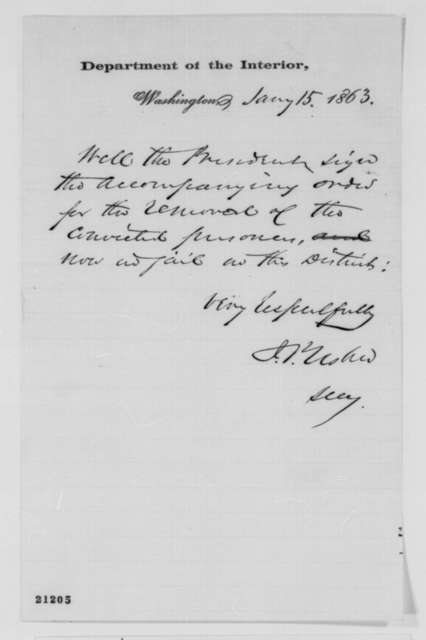 John P. Usher to Abraham Lincoln, Thursday, January 15, 1863  (Removal of prisoners from Washington D.C. jail)