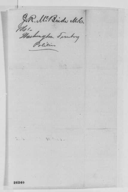 John R. McBride to Abraham Lincoln, Friday, September 11, 1863  (Sends newspaper clippings regarding affairs in Washington Territory)
