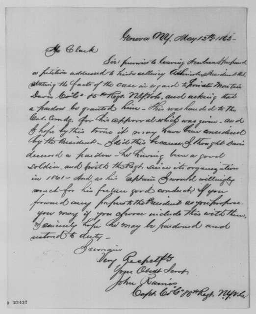 John Raines to Ezekiel Clark, Tuesday, May 12, 1863  (Pardon for Martin Davis)