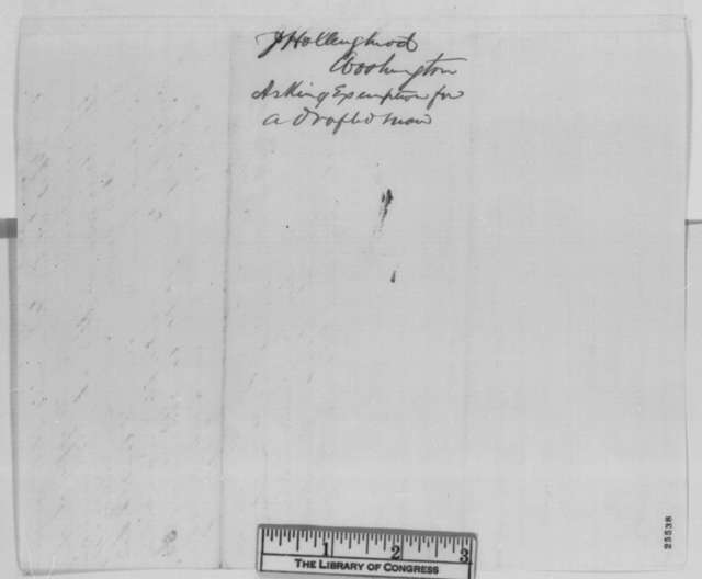 John S. Hollingshead to John Hay, Tuesday, August 11, 1863  (Sends affidavits for president's consideration)