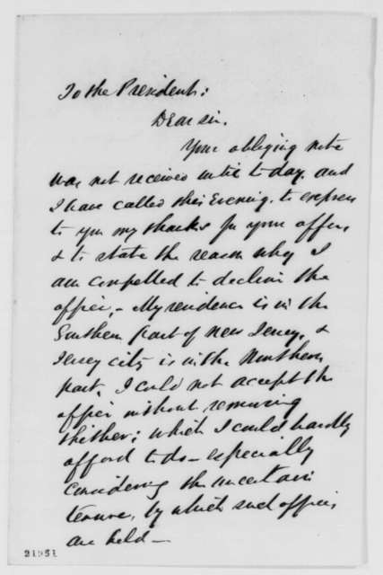 John T. Nixon to Abraham Lincoln, Tuesday, February 24, 1863  (Declines appointment)