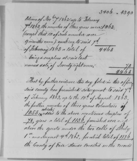 John T. Sprague, Friday, August 14, 1863  (Memorandum on quota for Erie, County New York)