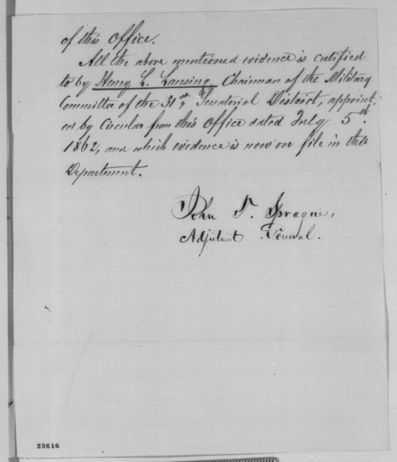 John T. Sprague, Friday, August 14, 1863  (Memorandum on quota for Erie, County New York)