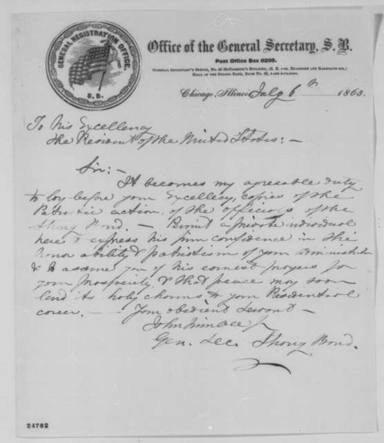 John Trimble Jr. to Abraham Lincoln, Monday, July 06, 1863  (Sends resolutions of Chicago Strong Band)