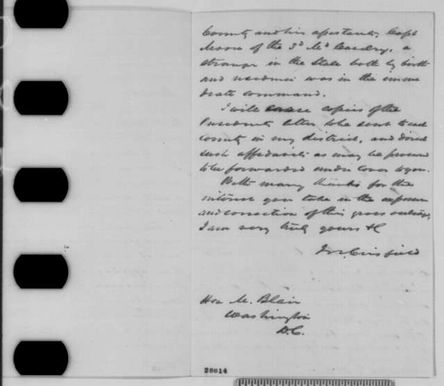 John W. Crisfield to Montgomery Blair, Saturday, November 14, 1863  (Military interference in Maryland elections; endorsed by Abraham Lincoln)