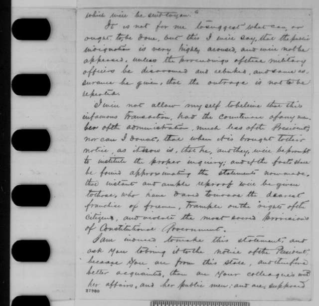 John W. Crisfield to Montgomery Blair, Sunday, November 08, 1863  (Federal interference in Maryland election)
