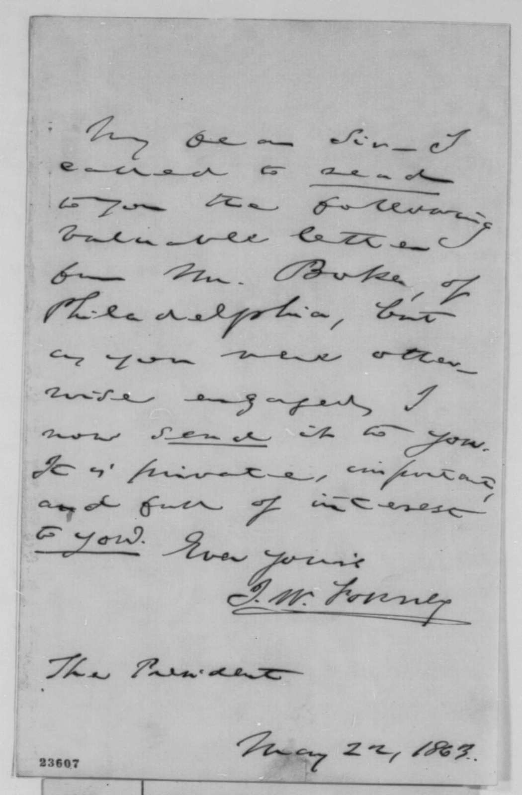 John W. Forney to Abraham Lincoln, Friday, May 22, 1863  (Cover letter)