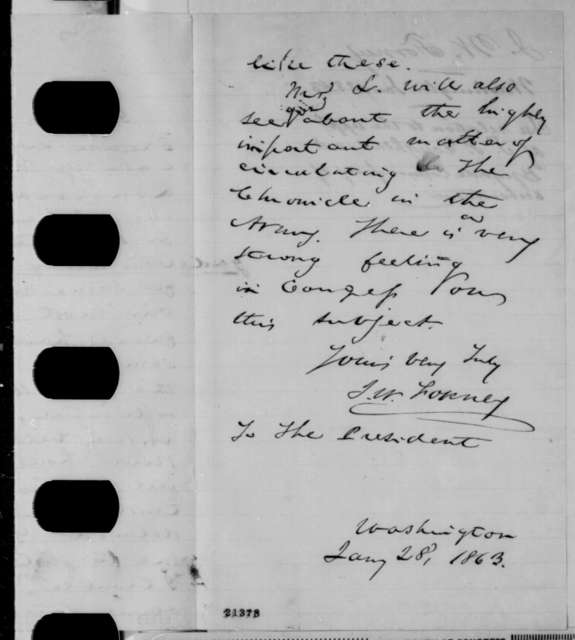 John W. Forney to Abraham Lincoln, Wednesday, January 28, 1863  (Recommends appointment of commissary of subsistence)