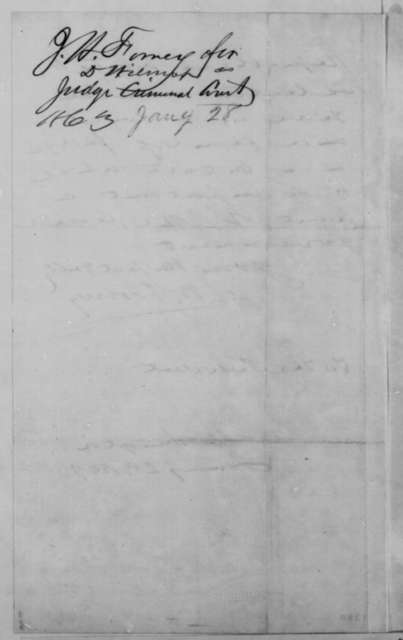 John W. Forney to Abraham Lincoln, Wednesday, January 28, 1863  (Recommends David Wilmot for judicial appointment)