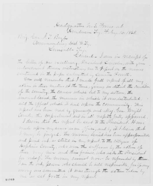 John W. Foster to Jeremiah T. Boyle, Monday, February 16, 1863  (Military assessments in Kentucky)