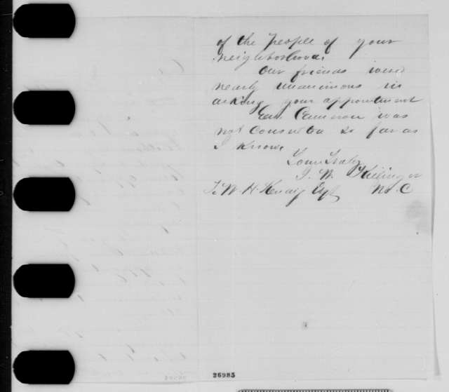 John W. Killinger to Walter H. Kendig, Monday, October 05, 1863  (Kendig's removal from office)