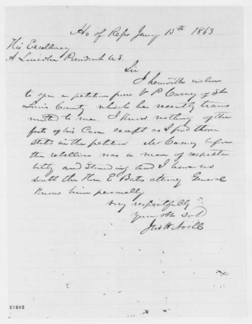 John W. Noell to Abraham Lincoln, Thursday, January 15, 1863  (endorsed by Lincoln, Jan. 16, 1863)