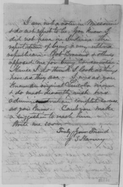 Jonathan S. Harvey to John D. Defrees, Tuesday, September 08, 1863  (Affairs in Missouri)