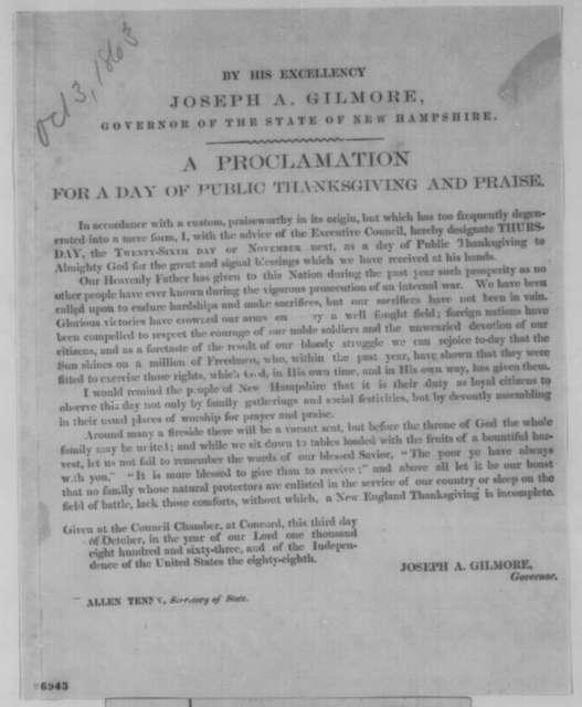 Joseph A. Gilmore, Saturday, October 03, 1863  (Printed proclamation)