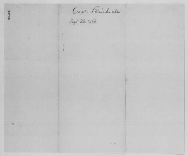 Joseph A. Potter to E. R. Bohn, Monday, September 28, 1863  (Transfer of William H. Bailhache)