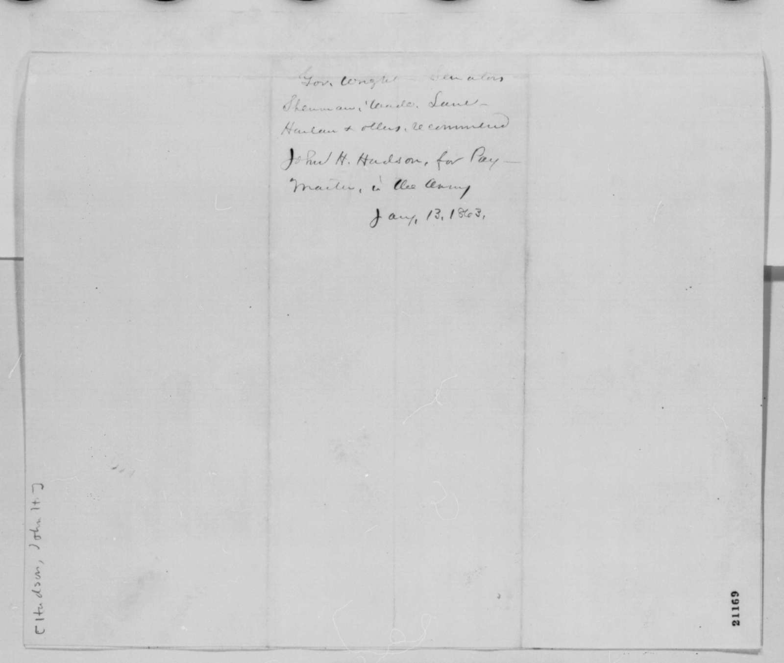 Joseph A. Wright, et al. to Abraham Lincoln, Tuesday, January 13, 1863  (Petition recommending John Hudson for paymaster)