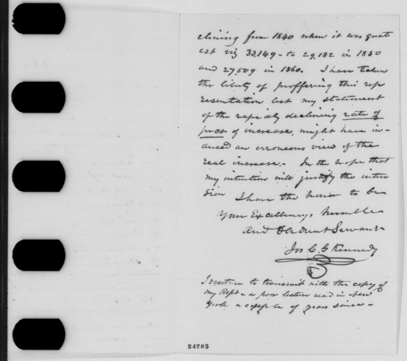 Joseph C. G. Kennedy to Abraham Lincoln, Monday, July 13, 1863  (Slave population in Missouri)