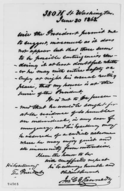 Joseph C. G. Kennedy to Abraham Lincoln, Tuesday, June 30, 1863  (Offers his house to Lincoln)
