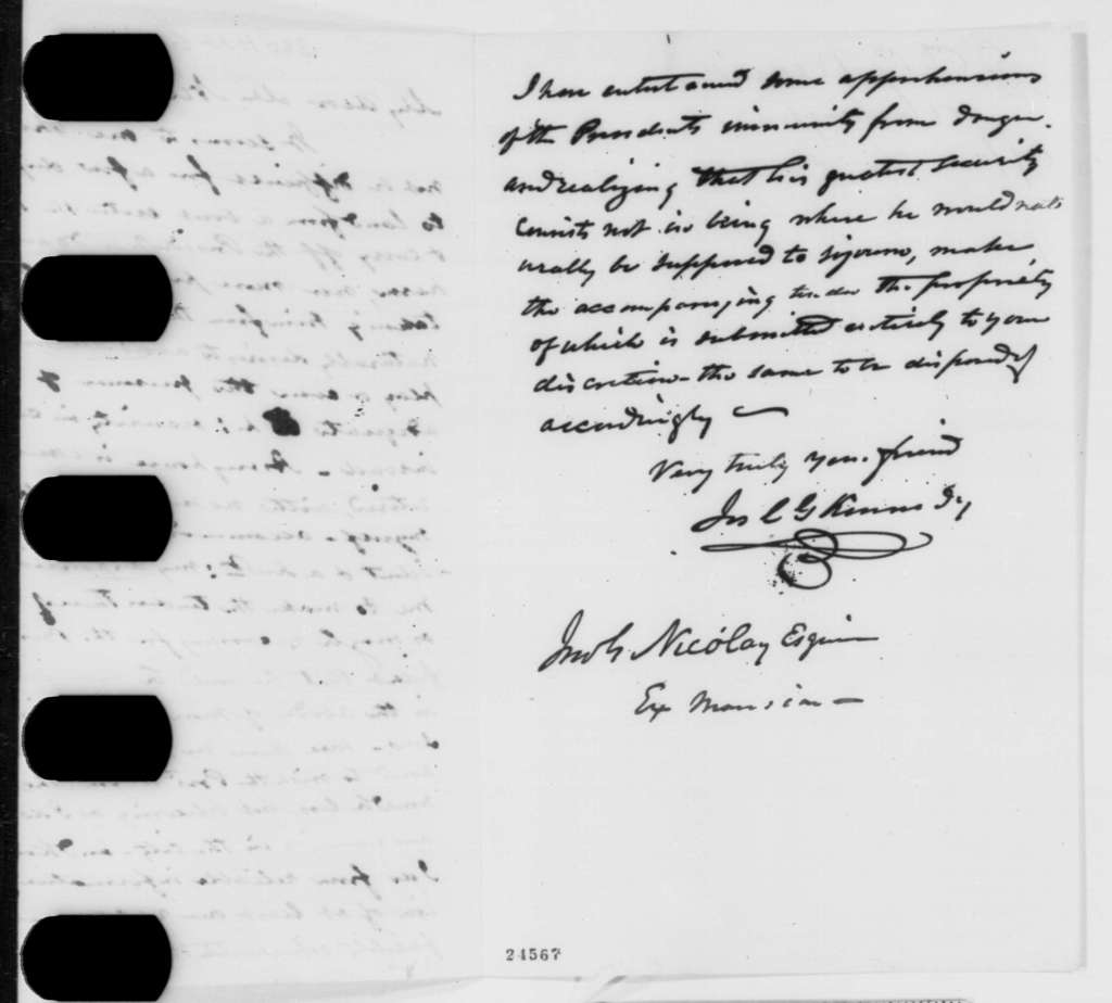 Joseph C. G. Kennedy to John G. Nicolay, Tuesday, June 30, 1863  (Fears plot against the president and offers his home)