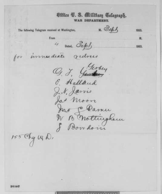 Joseph E. Segar to Abraham Lincoln, Monday, September 07, 1863  (Telegram relaying statement from Northampton, Virginia citizens concerning the seizure of slaves)