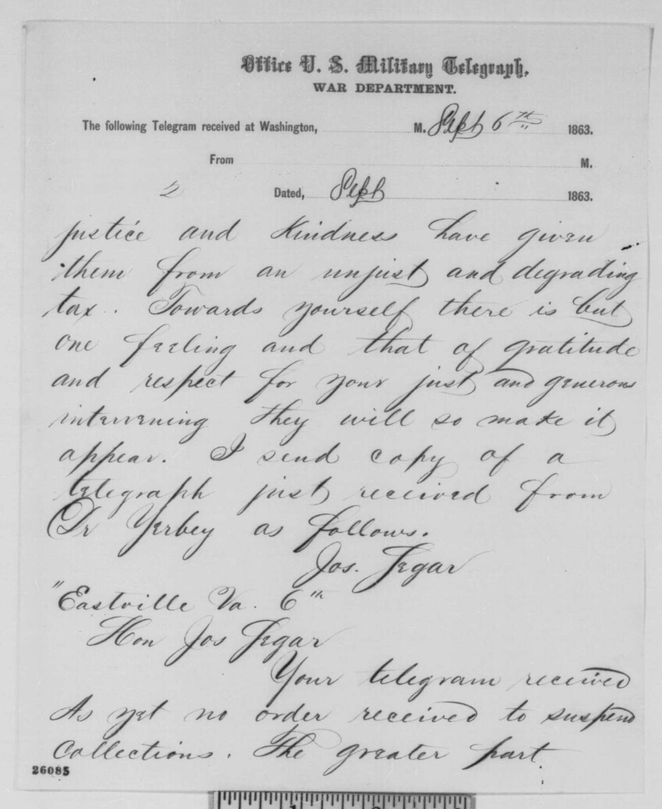 Joseph E. Segar to Abraham Lincoln, Sunday, September 06, 1863  (Reply to Lincoln's letter of September 5 concerning the collection of fine at Northampton, Virginia)