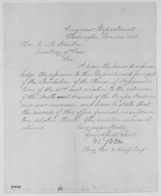 Joseph G. Totten to Edwin M. Stanton, Thursday, December 24, 1863  (Acknowledgment)
