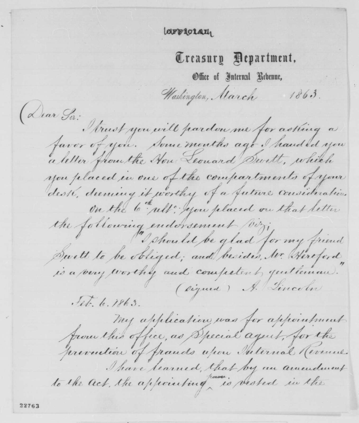 Joseph Hertford to Abraham Lincoln, March 1863  (Seeks office; includes copy of endorsement by Lincoln)