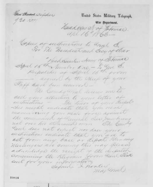 Joseph Hooker to Abraham Lincoln and Edwin M. Stanton, Thursday, April 16, 1863  (Telegram concerning instructions to General Stoneman)