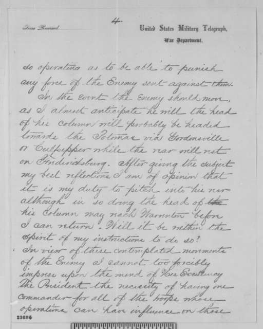 Joseph Hooker to Abraham Lincoln, Friday, June 05, 1863  (Telegram concerning movement of the Confederate Army)