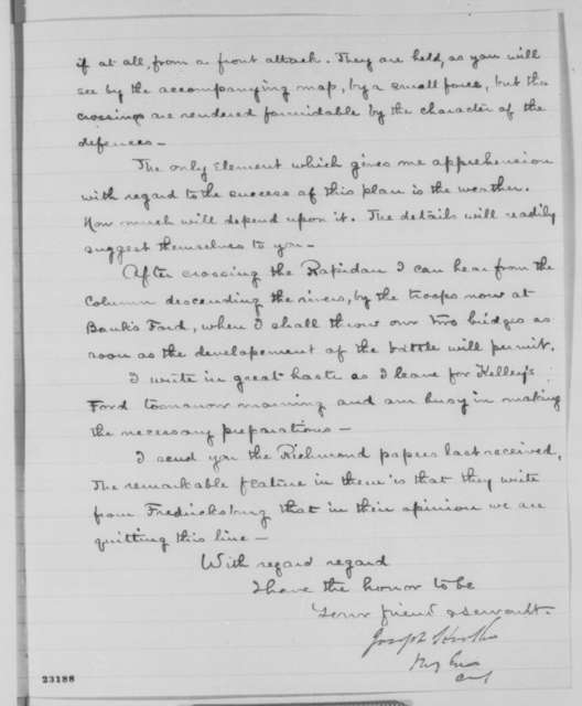 Joseph Hooker to Abraham Lincoln, Monday, April 27, 1863  (Military plans)