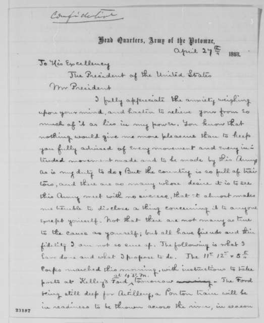 Joseph Hooker to Abraham Lincoln, Monday, April 27, 1863  (Military plans)