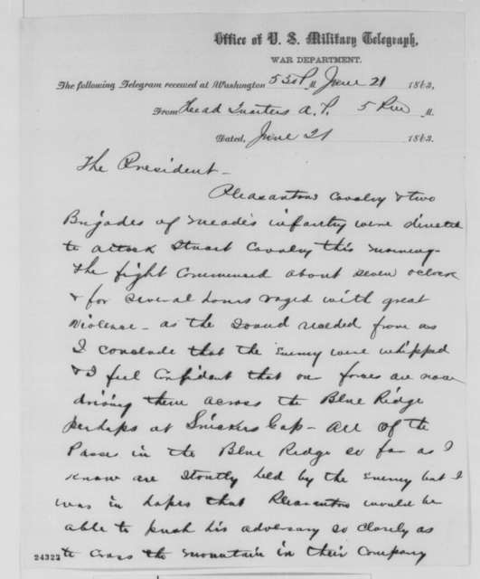 Joseph Hooker to Abraham Lincoln, Sunday, June 21, 1863  (Telegram reporting cavalry engagement)
