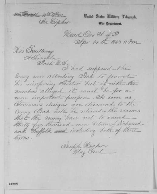 Joseph Hooker to Abraham Lincoln, Tuesday, April 14, 1863  (Telegram concerning military affairs)