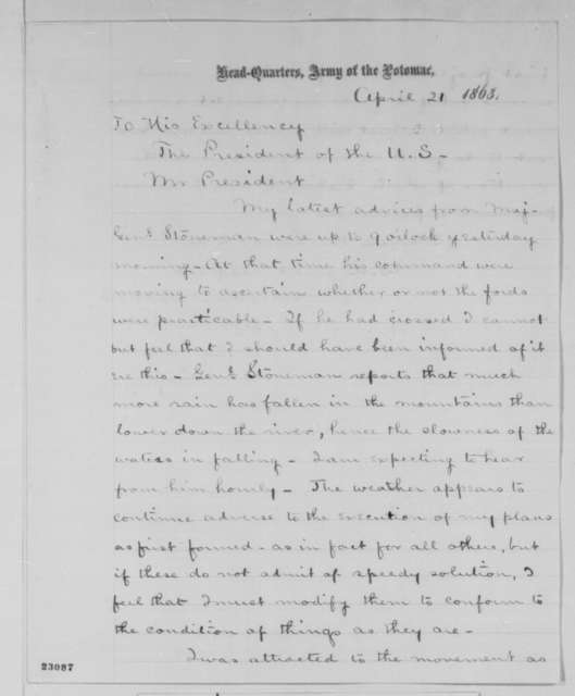 Joseph Hooker to Abraham Lincoln, Tuesday, April 21, 1863  (General Stoneman's advance)