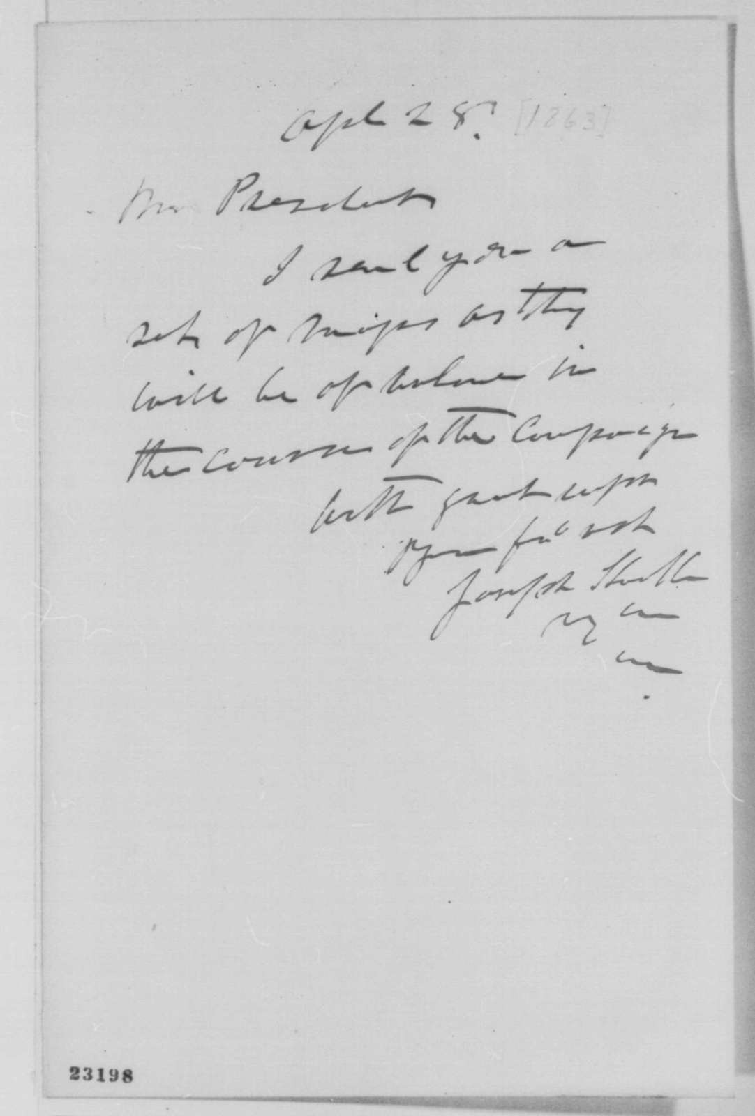 Joseph Hooker to Abraham Lincoln, Tuesday, April 28, 1863  (Sends maps)