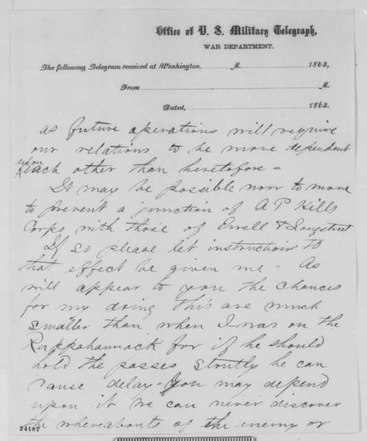 Joseph Hooker to Abraham Lincoln, Tuesday, June 16, 1863  (Telegram concerning military affairs)
