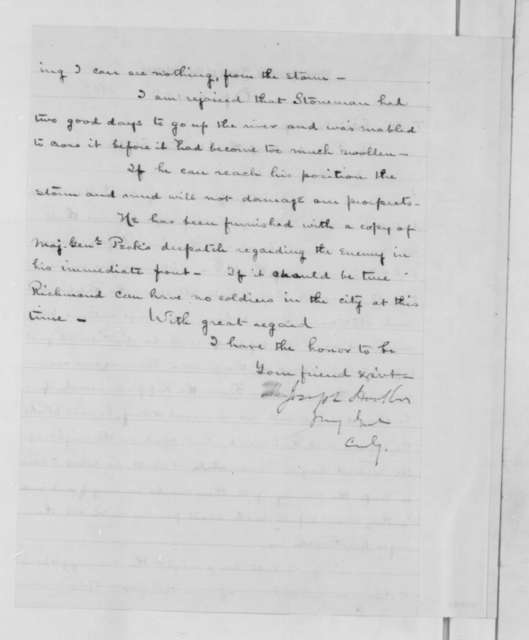 Joseph Hooker to Abraham Lincoln, Wednesday, April 15, 1863  (Advance of the army across the Rappahannock)