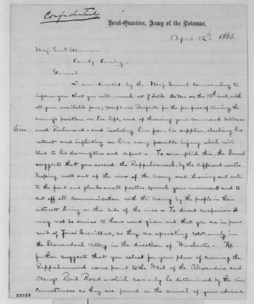 Joseph Hooker to George Stoneman, Sunday, April 12, 1863  (Orders for attacking the enemy)