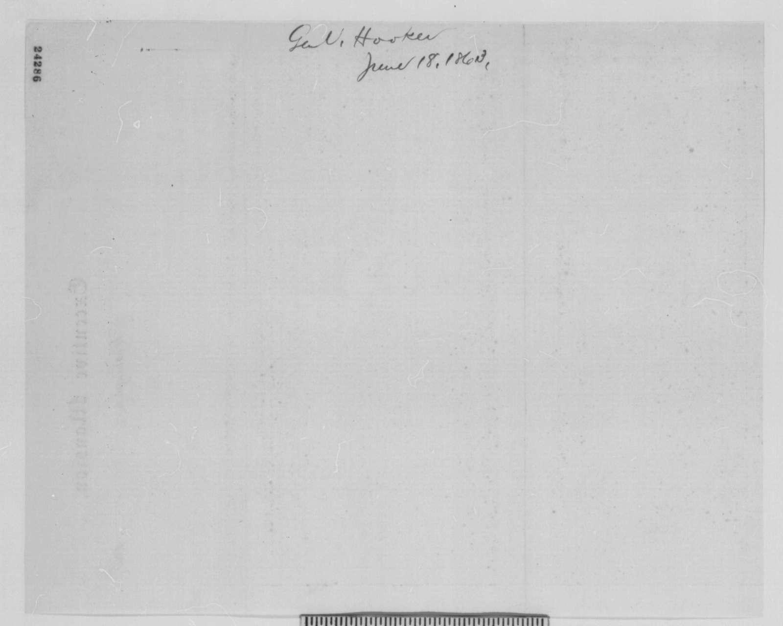 Joseph Hooker to Henry W. Halleck, Thursday, June 18, 1863  (Telegram recommending promotion for General Pleasanton)