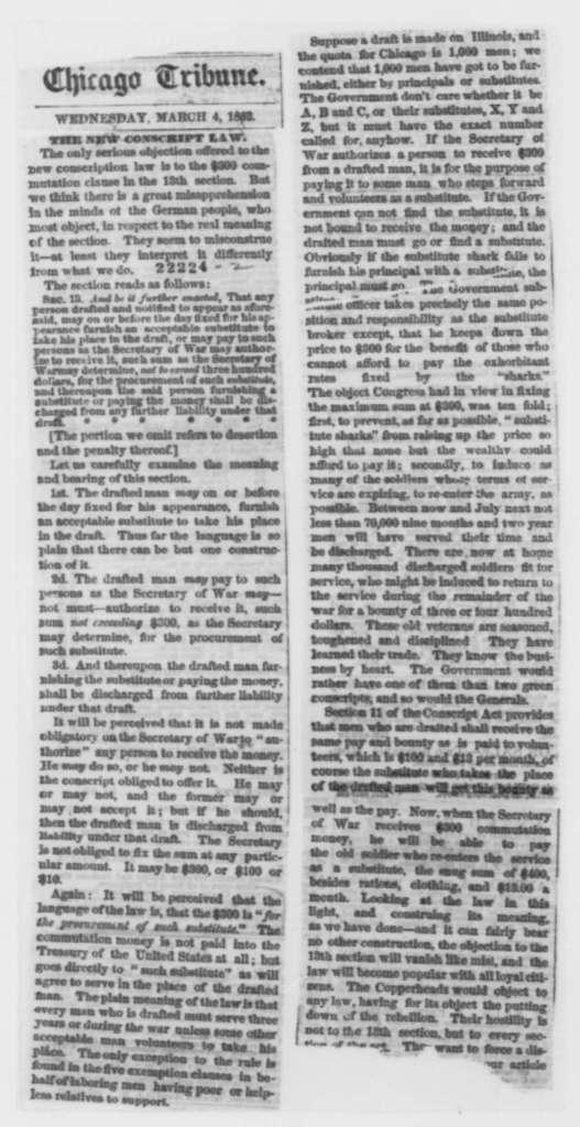 Joseph Medill to Horace White, Thursday, March 05, 1863  (Cover letter)