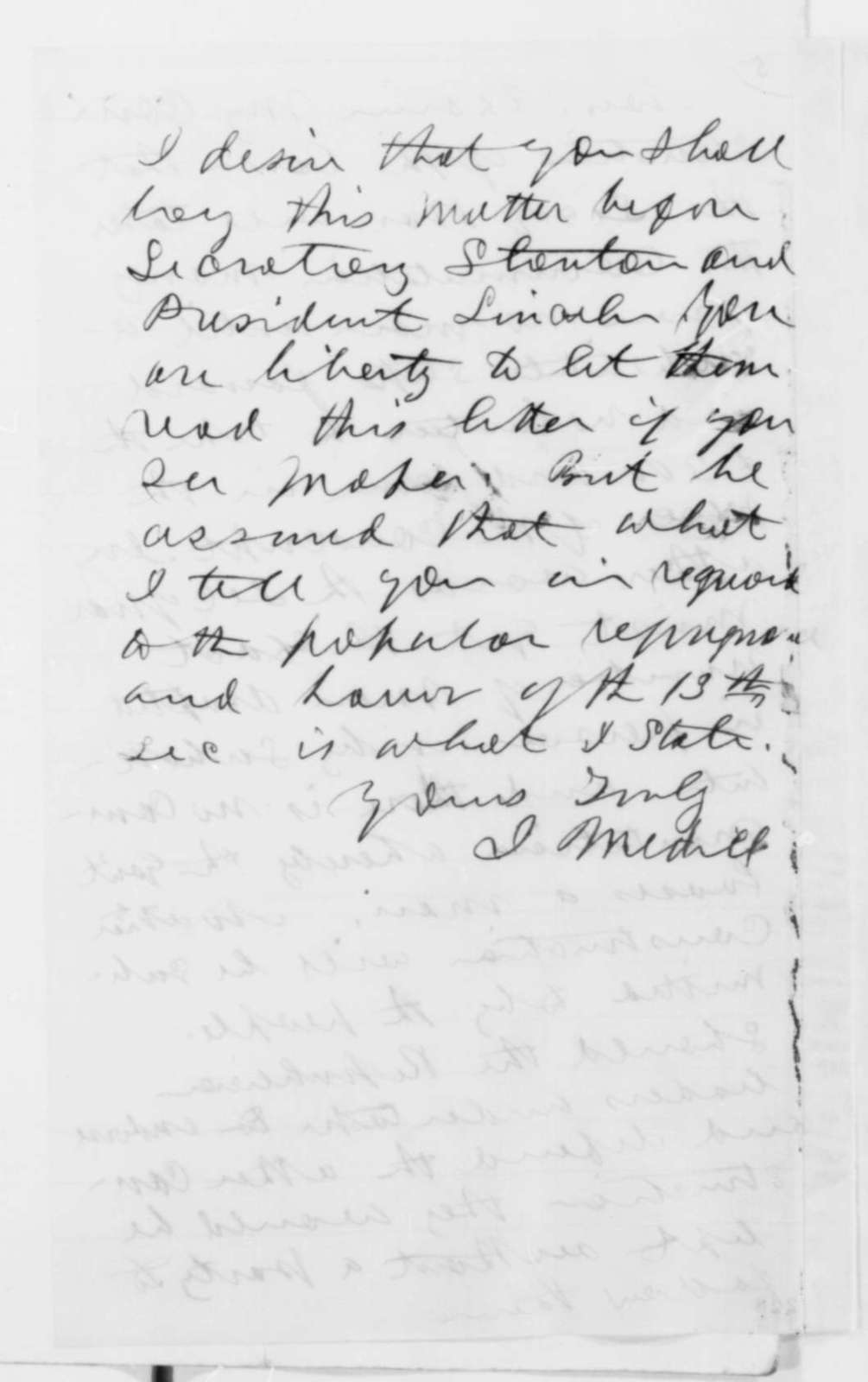 Joseph Medill to Horace White, Thursday, March 05, 1863  (Opposition in Illinois to the Conscription Act)