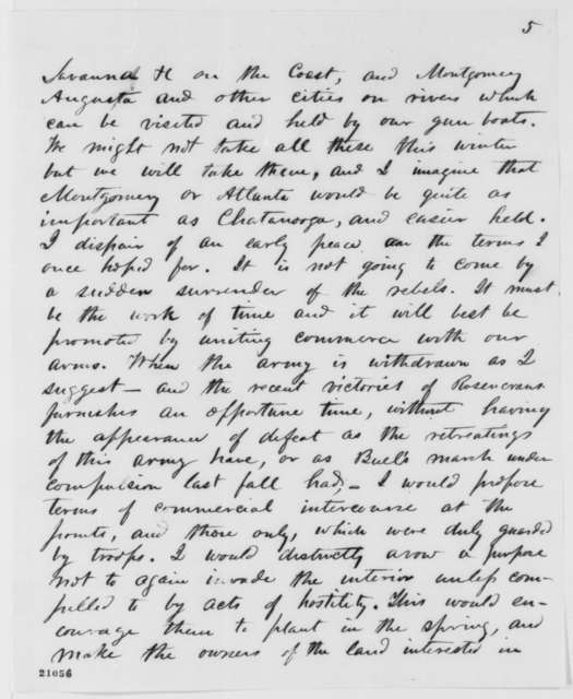 Joseph Russell Jones to Abraham Lincoln, Wednesday, January 07, 1863  (Military and commercial affairs in the South and West)