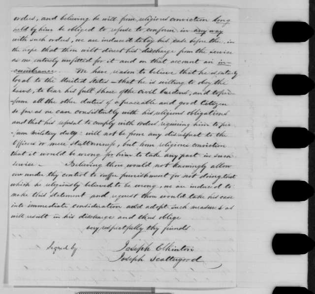 Joseph Scattergood and Joseph Elkington to George G. Meade, Saturday, August 22, 1863  (Seek release of Quaker drafted into the army)