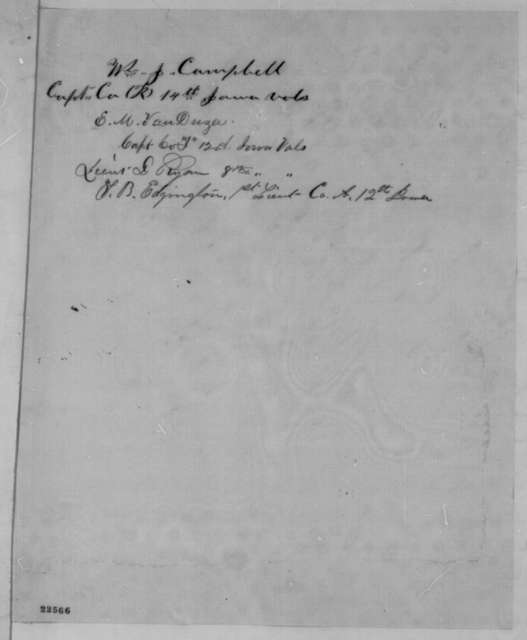Joseph W. Bell, et al. to Abraham Lincoln, Sunday, March 22, 1863  (Removal of General Curtis)