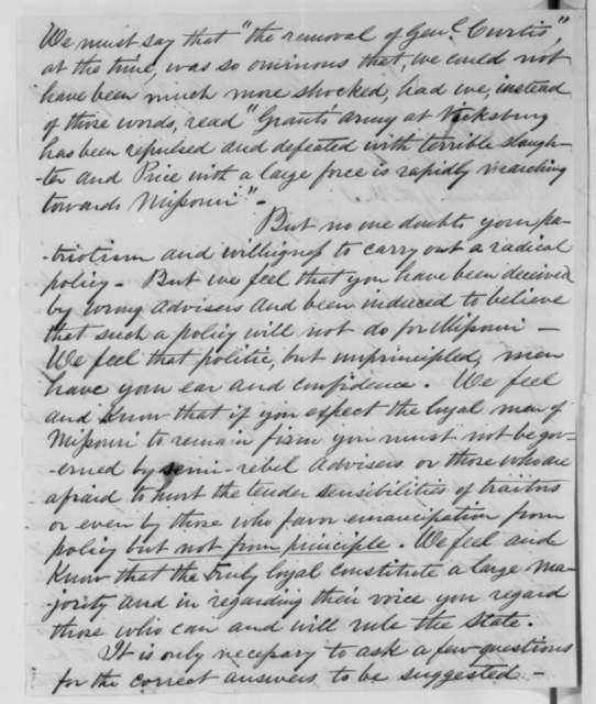 Joseph W. McClurg to Abraham Lincoln, Friday, May 22, 1863  (Removal of General Curtis and affairs in Missouri)