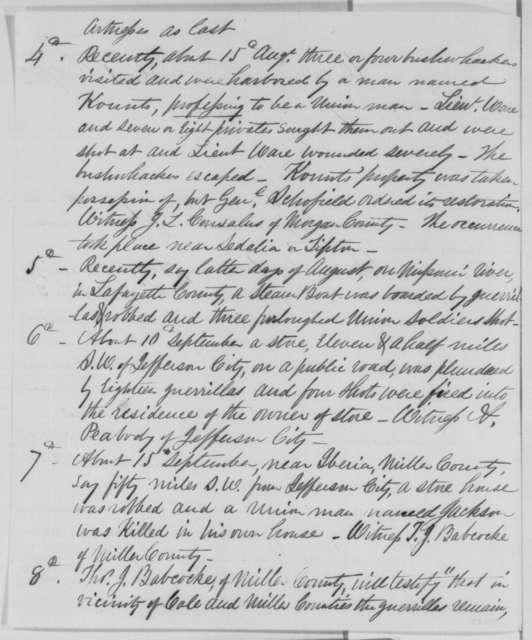 Joseph W. McClurg to Abraham Lincoln, Thursday, October 01, 1863  (Military affairs in Missouri)