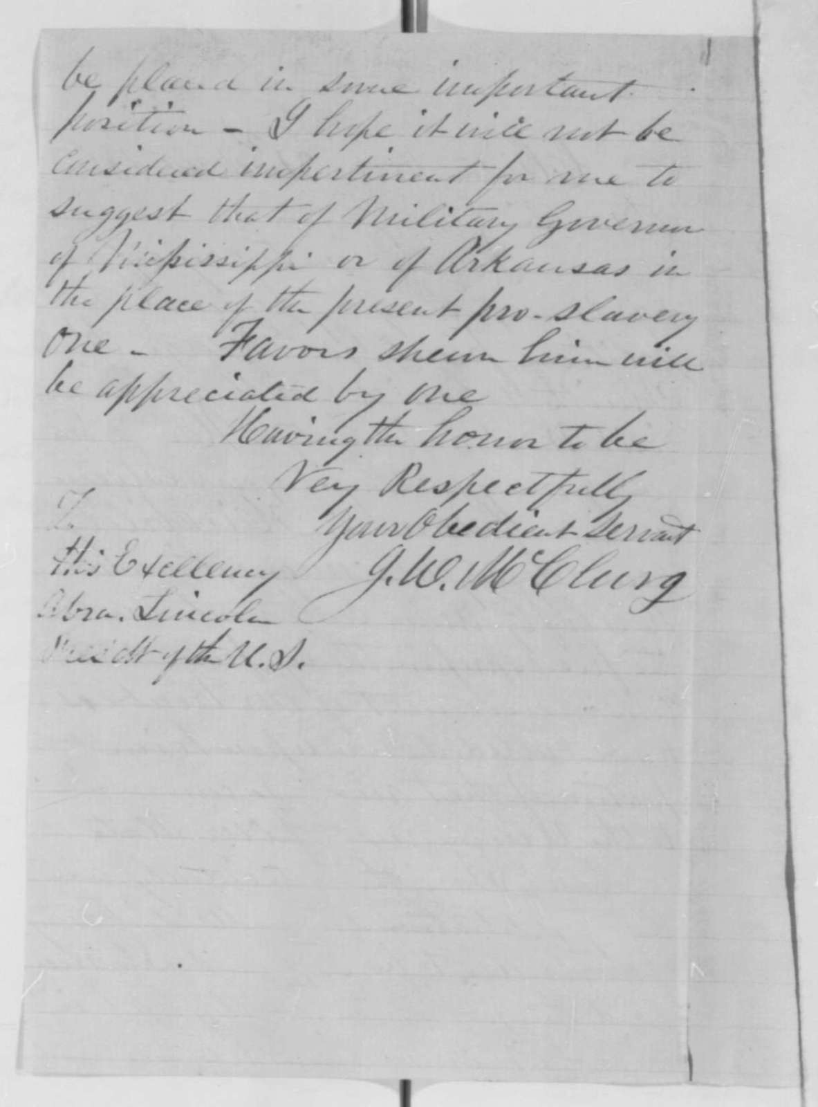 Joseph W. McClurg to Abraham Lincoln, Tuesday, March 31, 1863  (Recommendation for George R. Smith)